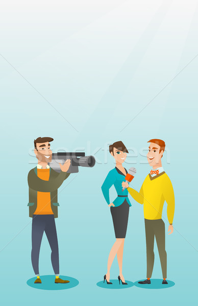Tv entrevue professionnels journaliste micro Photo stock © RAStudio
