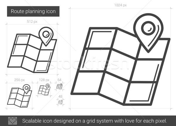 Route planning lijn icon vector geïsoleerd Stockfoto © RAStudio