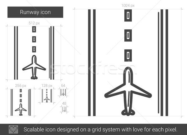 Landingsbaan lijn icon vector geïsoleerd witte Stockfoto © RAStudio