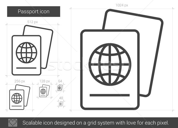 Paspoort lijn icon vector geïsoleerd witte Stockfoto © RAStudio