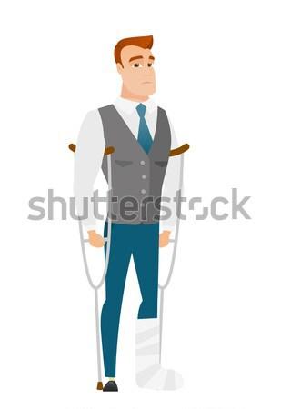 新郎 骨折した脚 白人 花婿 松葉杖 ストックフォト © RAStudio