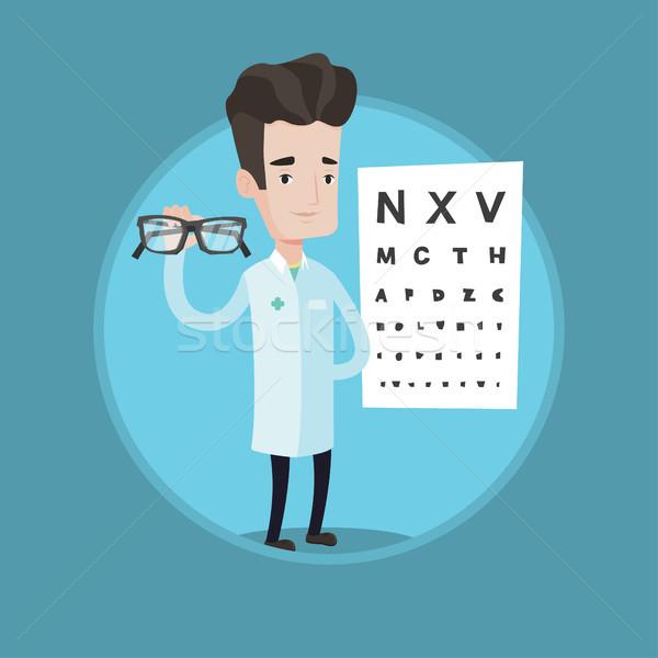 Szemorvos tart szemüveg szemüveg szem diagram Stock fotó © RAStudio