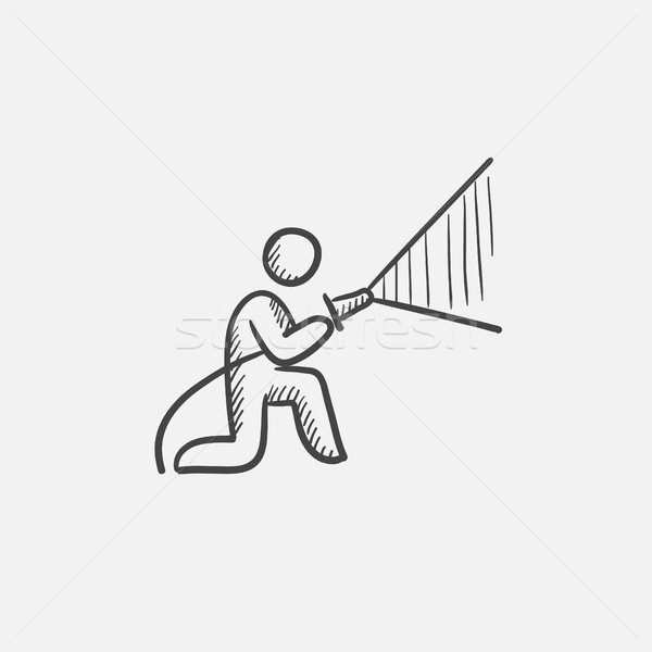 Fireman spraying water sketch icon. Stock photo © RAStudio