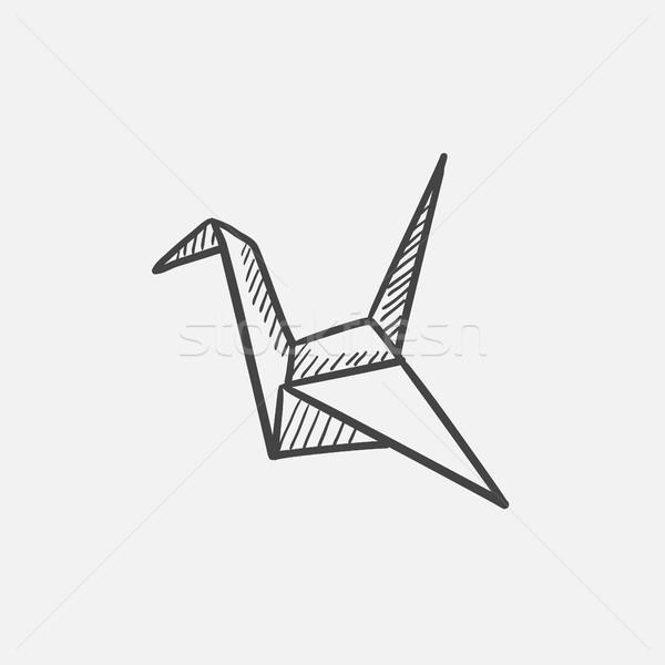 Origami vogel schets icon web mobiele Stockfoto © RAStudio