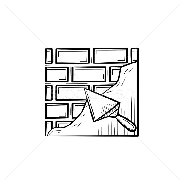 Brick solid surface with spatula hand drawn icon. Stock photo © RAStudio