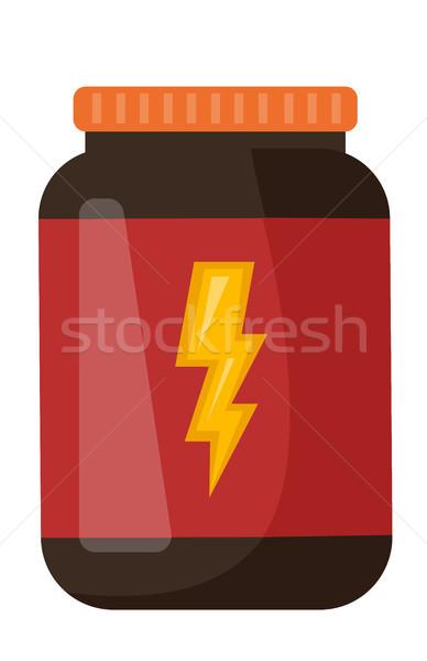 Whey protein in a jar vector cartoon illustration. Stock photo © RAStudio