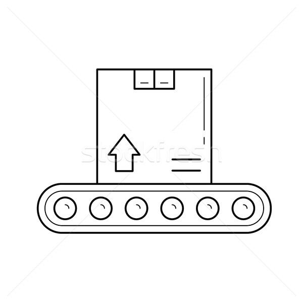 Factory conveyor with parcel vector line icon. Stock photo © RAStudio