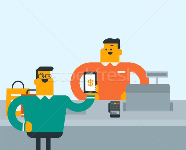 Customer paying wireless with his smartphone. Stock photo © RAStudio
