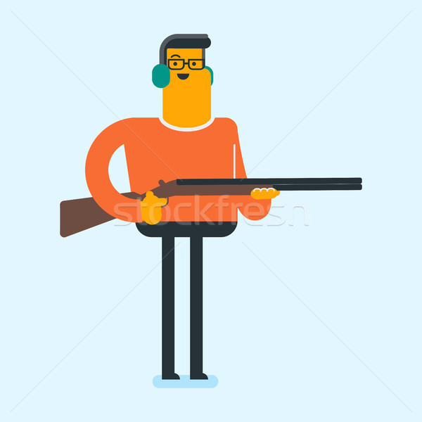 Caucasian white man aiming with a rifle gun. Stock photo © RAStudio