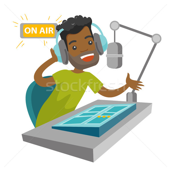 African radio host working at the radio studio. Stock photo © RAStudio