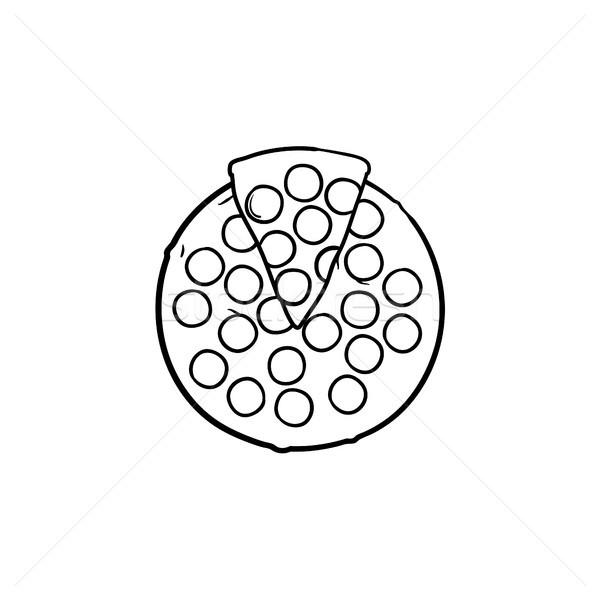 Foto stock: Italiano · pizza · dibujado · a · mano · boceto · icono