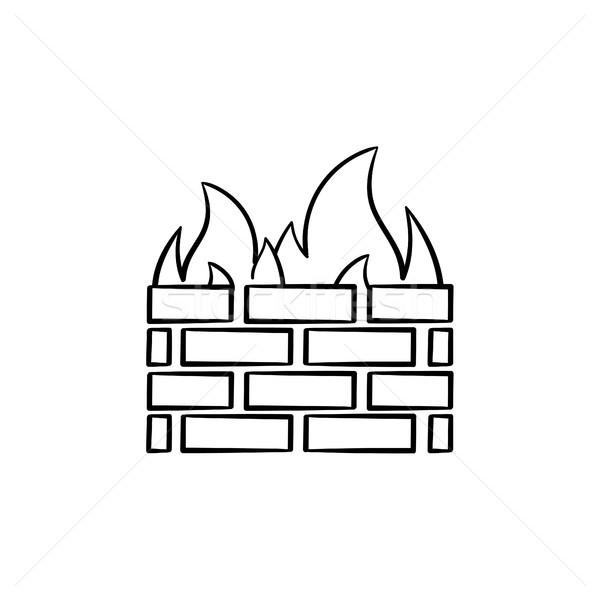 Firewall esboço ícone rabisco Foto stock © RAStudio