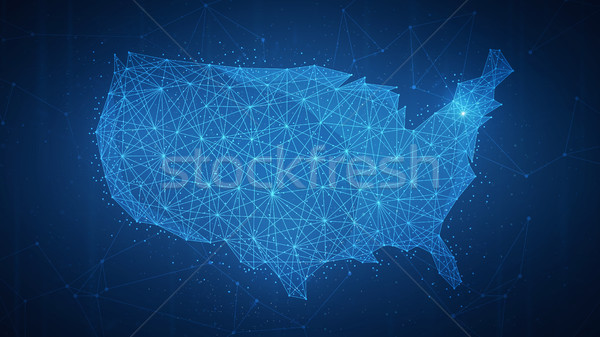 Polygon USA country map on blockchain hud banner. Stock photo © RAStudio
