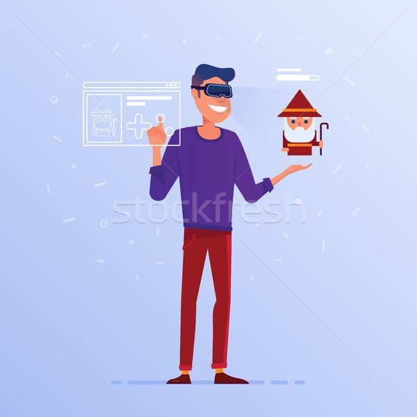 A caucasian man in VR headset playing online game. Stock photo © RAStudio