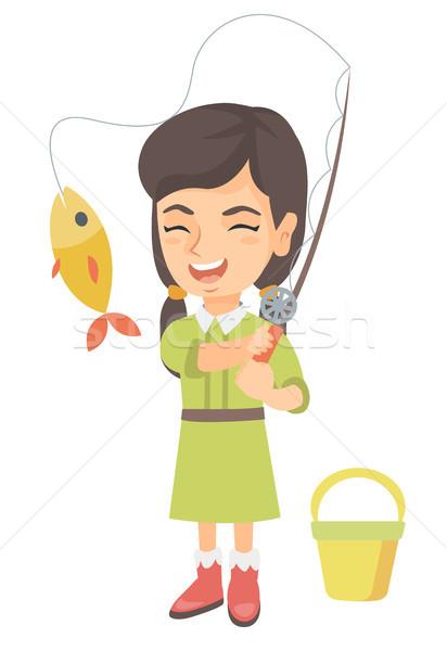 Petite fille canne à pêche poissons crochet Photo stock © RAStudio