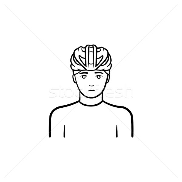 Man in bicycle helmet hand drawn outline doodle icon. Stock photo © RAStudio