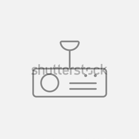 Vintage radio with analog dials and antenna thin line icon Stock photo © RAStudio