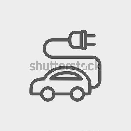 Elektrische auto dun lijn icon web mobiele Stockfoto © RAStudio