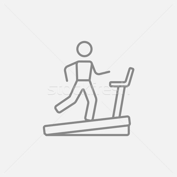 ストックフォト: 男 · を実行して · トレッドミル · 行 · アイコン · ウェブ