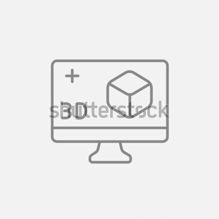 Számítógépmonitor 3D doboz vonal ikon háló Stock fotó © RAStudio