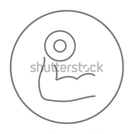 Stock fotó: Kar · súlyzó · vonal · ikon · háló · mobil