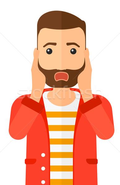 страшно человека открытых рот вектора дизайна Сток-фото © RAStudio