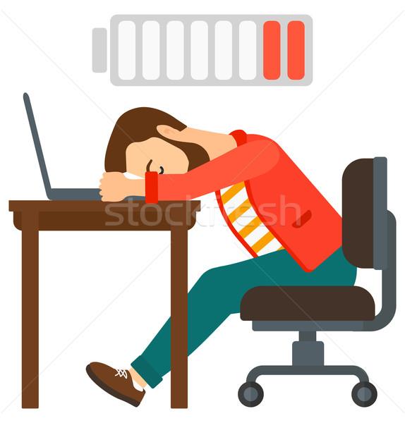 Stock fotó: Férfi · alszik · munkahely · fáradt · alkalmazott · laptop · billentyűzet