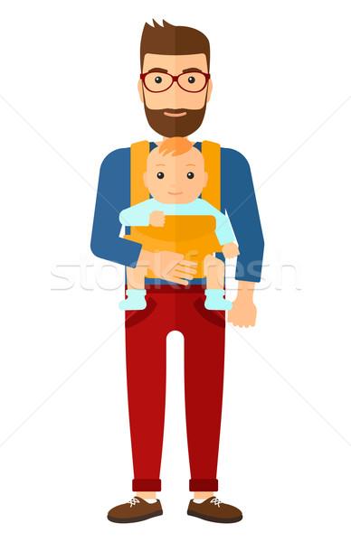 Férfi tart baba csúzli szakáll hordoz Stock fotó © RAStudio