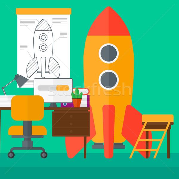 Werkruimte business startup raket vector ontwerp Stockfoto © RAStudio