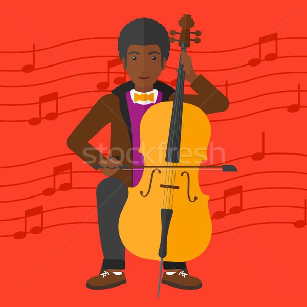 Adam oynama viyolonsel kırmızı müzik notaları vektör Stok fotoğraf © RAStudio