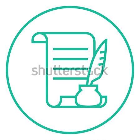 Stockfoto: Papier · scroll · veer · pen · lijn · icon