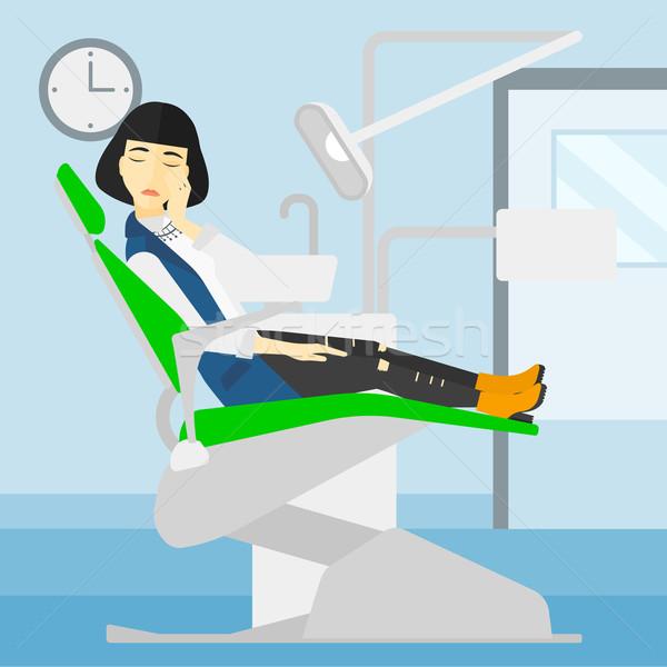 Stock fotó: Nő · szenvedés · fogászati · szék · ázsiai · ül