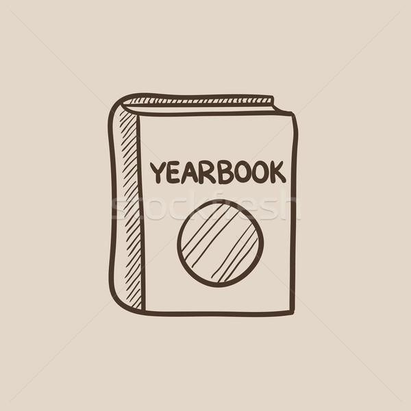 évkönyv rajz ikon háló mobil infografika Stock fotó © RAStudio