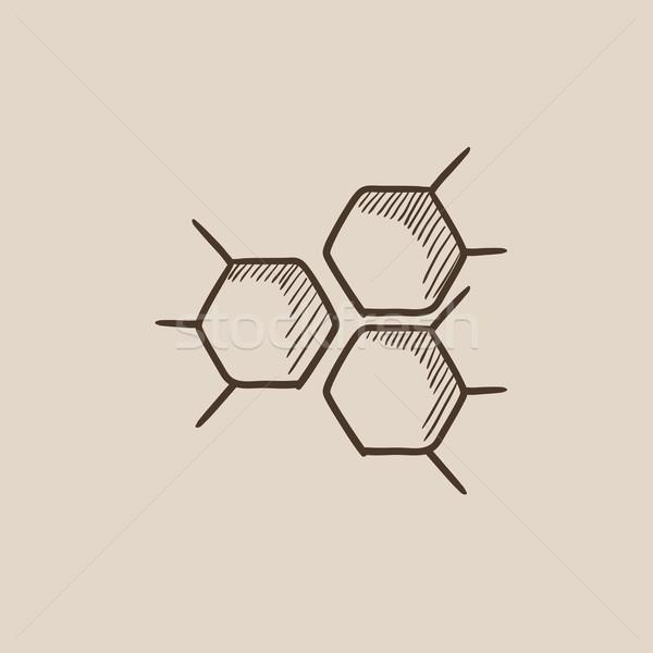 Chemische formule schets icon web mobiele Stockfoto © RAStudio