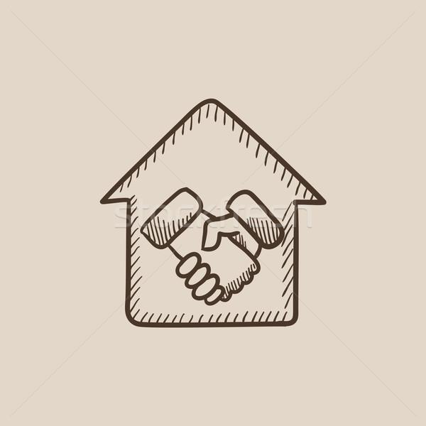 рукопожатие успешный недвижимости сделка эскиз икона Сток-фото © RAStudio