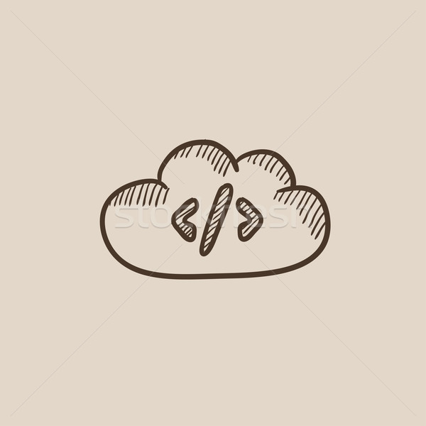 Transferring files cloud apps sketch icon. Stock photo © RAStudio