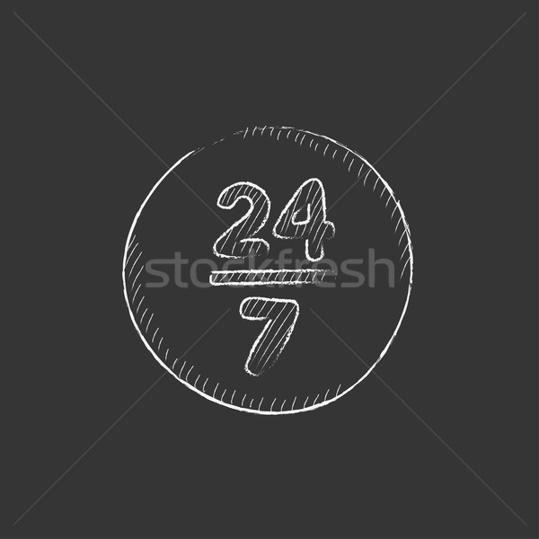Open 24 hours and 7 days in wheek sign. Drawn in chalk icon. Stock photo © RAStudio