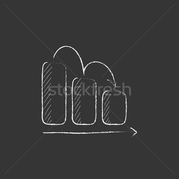 Graphique à barres vers le bas craie icône dessinés à la main Photo stock © RAStudio
