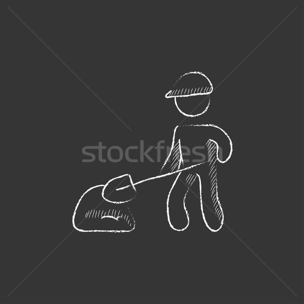 Człowiek łopata Hill piasku kredy Zdjęcia stock © RAStudio