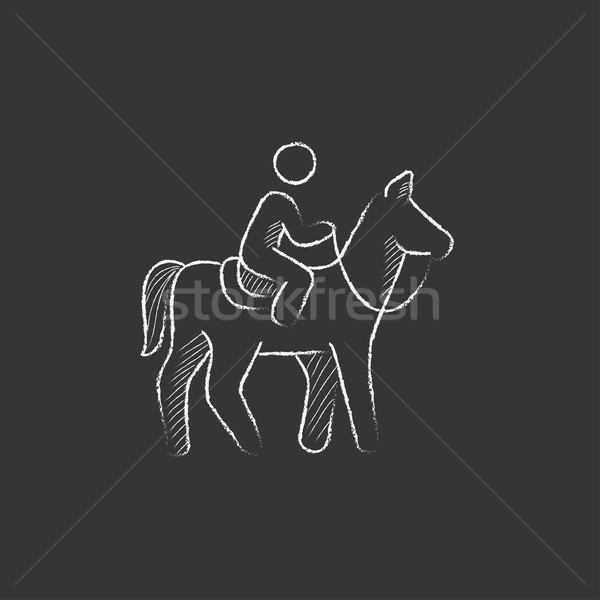 Horse riding. Drawn in chalk icon. Stock photo © RAStudio