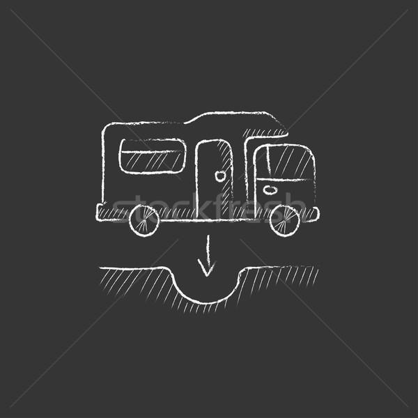 Motorhome and sump. Drawn in chalk icon. Stock photo © RAStudio