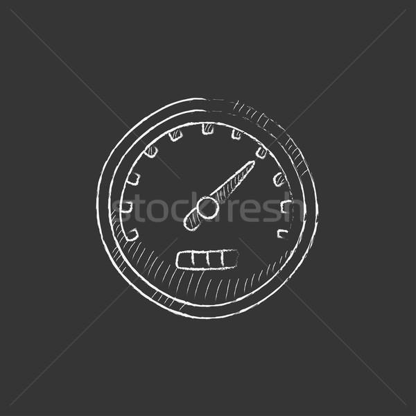 Speedometer. Drawn in chalk icon. Stock photo © RAStudio