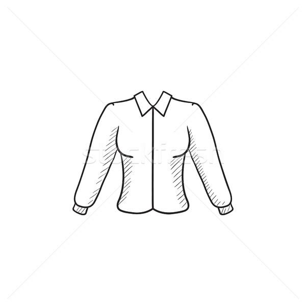 Kadın bluz kroki ikon vektör yalıtılmış Stok fotoğraf © RAStudio
