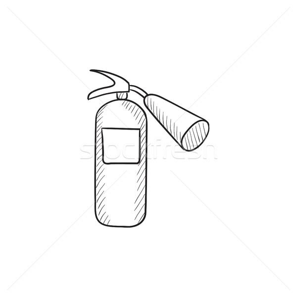 Tűzoltó készülék rajz ikon vektor izolált kézzel rajzolt Stock fotó © RAStudio