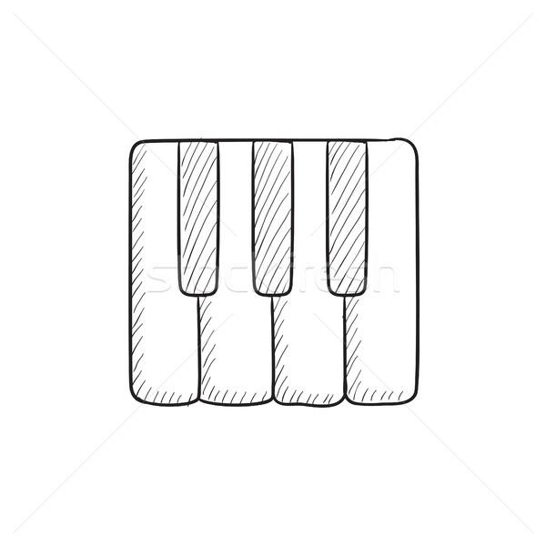Teclas de piano boceto icono vector aislado dibujado a mano Foto stock © RAStudio