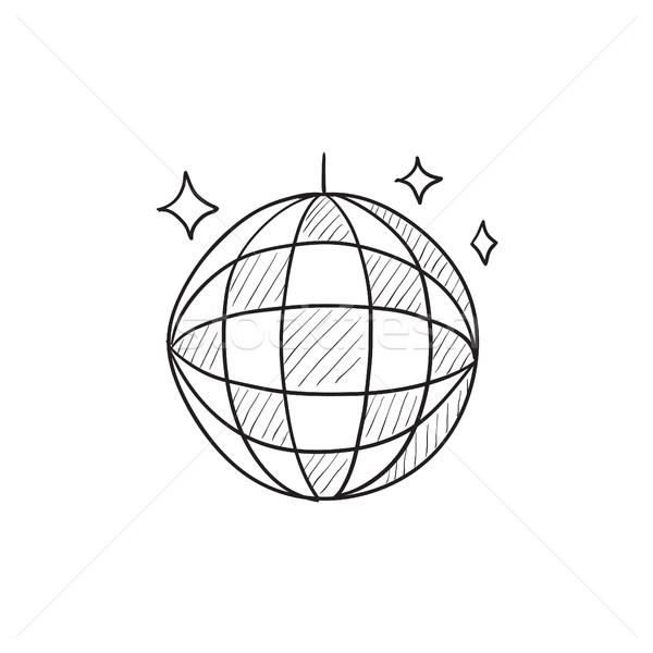 Disco ball schets icon vector geïsoleerd Stockfoto © RAStudio
