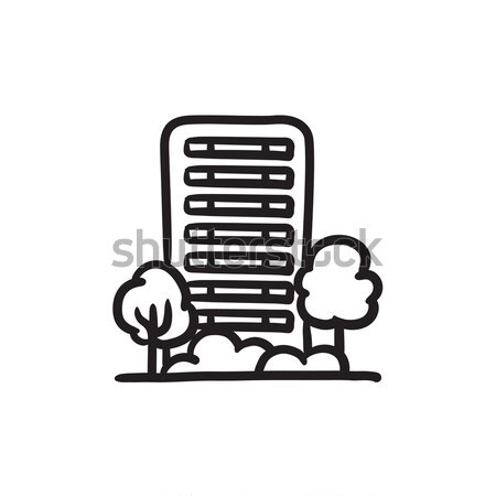Residential building with trees sketch icon. Stock photo © RAStudio