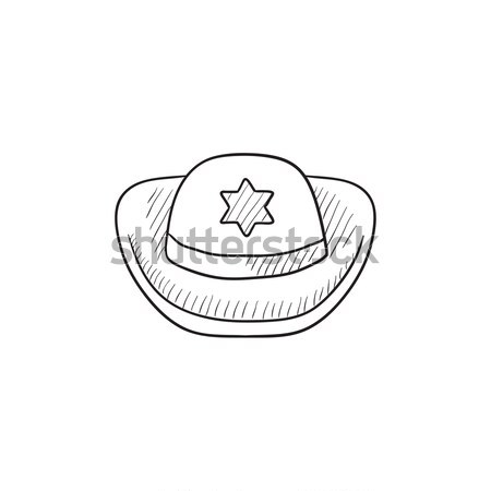 Sheriff hat sketch icon. Stock photo © RAStudio