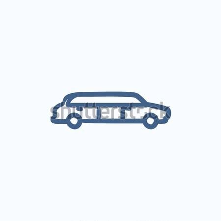 Bruiloft limousine schets icon vector geïsoleerd Stockfoto © RAStudio