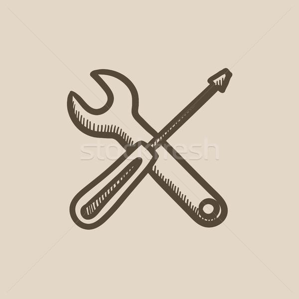Destornillador llave herramientas boceto icono vector Foto stock © RAStudio